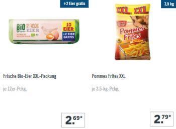 Lidl: XXL-Woche mit Großpackungen Bio-Eier und Pommes