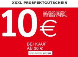 XXXL: 10 Euro Rabatt ab 20 Euro Warenwert auf Küchenartikel