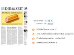 """Exklusiv: Automatisch auslaufendes Kurzabo der """"Zeit"""" für 4,95 Euro"""