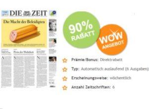 """""""Die Zeit"""": Sechs Ausgaben für zusammen 2,95 Euro frei Haus"""