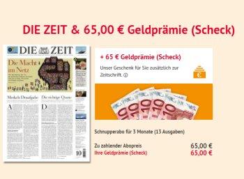 """""""Die Zeit"""": 13 Ausgaben für 65 Euro mit Scheck über 65 Euro"""
